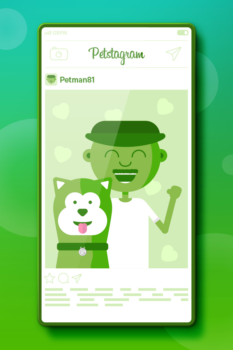 Petstagram - Man and dog smiling in photo in mobile phone app