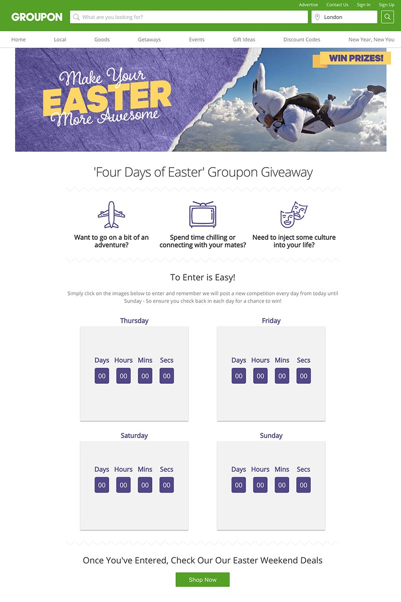 Groupon Awesome Easter Giveaway Landing Page